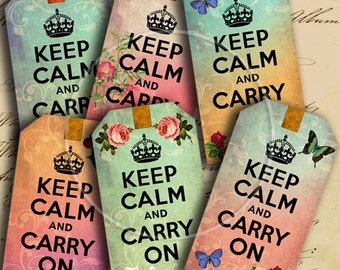 INSTANT DOWNLOAD Digital Collage Sheet Keep Calm and Carry On Gift Tags for your Artwork - DigitalPerfection digital collage sheet 766