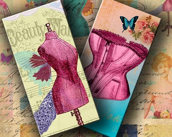 INSTANT DOWNLOAD Digital Collage Sheet Dress Forms and Corsets 1 X 2 inch (Domino tiles size) - DigitalPerfection digital collage sheet 782