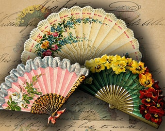INSTANT DOWNLOAD Digital Collage Sheet Cute Vintage Fans for your Artwork - DigitalPerfection digital collage sheet 340