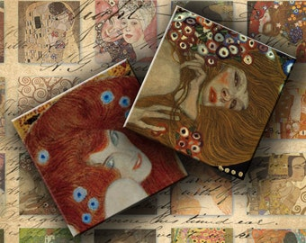 INSTANT DOWNLOAD Digital Collage Sheet - Gustav Klimt Images - 1 inch squares for your Artwork - DigitalPerfection digital collage sheet 060