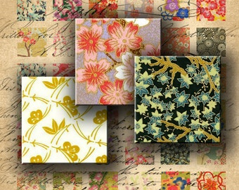 INSTANT DOWNLOAD Chiyogami Washi Yuzen Japanese Paper 7/8 inch squares - DigitalPerfection digital collage sheet 383