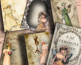Instant Download Victorian Ladies ATC ACEO or Jewelry Holders 2.5 X 3.5 inch - DigitalPerfection digital collage sheet 844