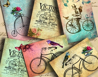 Instant Download Me and My Bicycle ATC ACEO or Jewelry Holders 2.5 X 3.5 inch for your Artwork - DigitalPerfection digital collage sheet 882