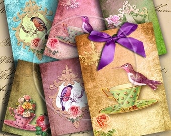 Instant Download Birds ATC ACEO or Jewelry Holders 2.5 X 3.5 inch - DigitalPerfection digital collage sheet 583