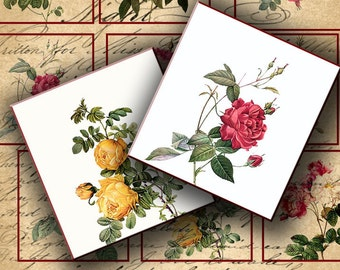 INSTANT DOWNLOAD Digital Collage Sheet Vintage 19 Century Roses for your Artwork - DigitalPerfection digital collage sheet 140