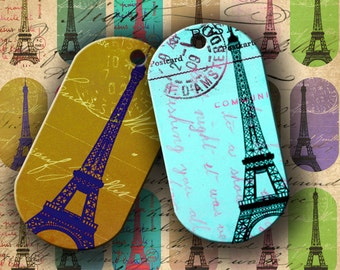 INSTANT DOWNLOAD Digital Collage Sheet Eiffel Tower Carte Postale Dog Tags for your Artwork - DigitalPerfection digital collage sheet 556