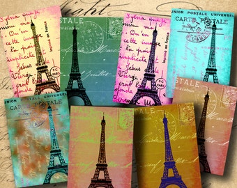 INSTANT DOWNLOAD Digital Collage Sheet Eiffel Tower Carte Postale ATCs 2.5 X 3.5 inch - DigitalPerfection digital collage sheet 516