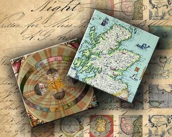 INSTANT DOWNLOAD Digital Collage Sheet - Antique Maps 1 inch Squares - DigitalPerfection digital collage sheet 166