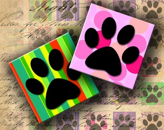 INSTANT DOWNLOAD Digital Collage Sheet - Paw 1 inch Squares for your Artwork - DigitalPerfection digital collage sheet 164