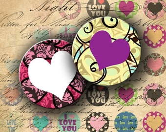 INSTANT DOWNLOAD Digital Collage Sheet Love Hearts 1 inch Circles - DigitalPerfection digital collage sheet 550