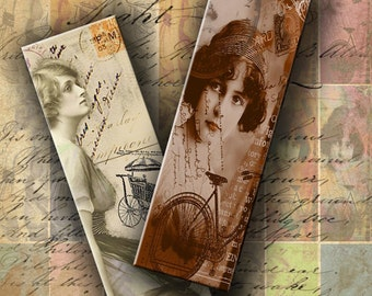 INSTANT DOWNLOAD Letters from Paris Romantic Images 1 X 3 inch - DigitalPerfection digital collage sheet 167