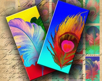 Instant Download Digital Collage Sheet Dichroic Feathers 1 X 2 inch (Domino) - DigitalPerfection digital collage sheet 909