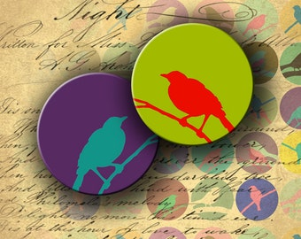 Instant Download Digital Collage Sheet Bird on a Wire 1 inch Circles - DigitalPerfection digital collage sheet 684