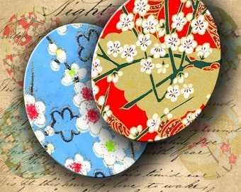 INSTANT DOWNLOAD Digital Collage Sheet Japanese Paper Washi Chiyogami Yuzen 2 X 2.5 inch Ovals - DigitalPerfection digital collage sheet 280
