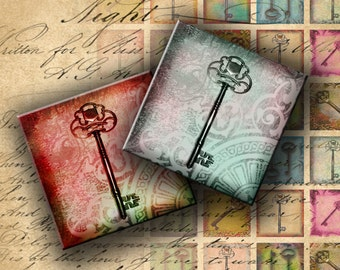 INSTANT DOWNLOAD Digital Collage Sheet - Antique Keys 1 inch squares for your Artwork - DigitalPerfection digital collage sheet 439