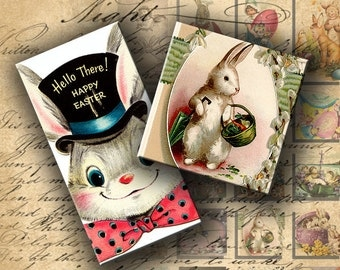 INSTANT DOWNLOAD Digital Collage Sheet Vintage Easter 1 inch squares and 1 X 2 inch Images - DigitalPerfection digital collage sheet 118