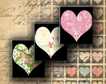 INSTANT DOWNLOAD Digital Collage Sheet Hearts and Chiyogami Japanese Paper 0.75 X 0.85 inch - DigitalPerfection digital collage sheet 489