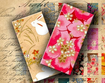 INSTANT DOWNLOAD Japanese Paper Washi Chiyogami Yuzen 0.75 X 1.5 inch (Bamboo Size) - DigitalPerfection digital collage sheet 436