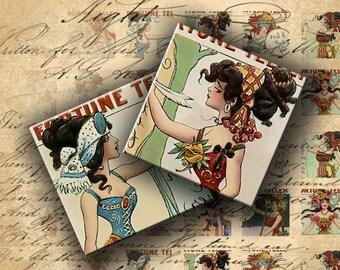 INSTANT DOWNLOAD Digital Collage Sheet Vintage Fortune Teller Cards 1 inch squares - DigitalPerfection digital collage sheet 175