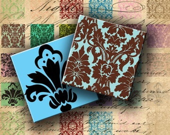 INSTANT DOWNLOAD Digital Collage Sheet - Damask 1 inch squares for your Artwork - DigitalPerfection digital collage sheet 230