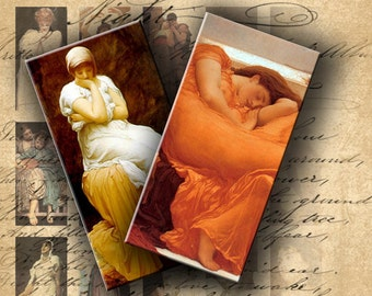 Instant Download Digital Collage Sheet Frederic Leighton's Paintings 1 X 2 inch - DigitalPerfection digital collage sheet 199