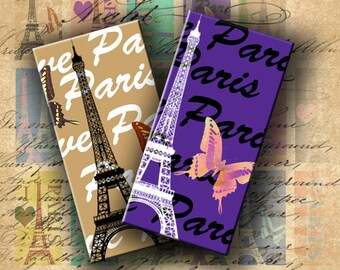 INSTANT DOWNLOAD Digital Collage Sheet I Love Paris with Butterflies 1 X 2 inch - DigitalPerfection digital collage sheet 672