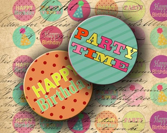 INSTANT DOWNLOAD Digital Collage Sheet Happy Birthday 1 inch Circles for your Artwork - DigitalPerfection digital collage sheet 608