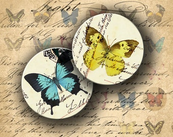 INSTANT DOWNLOAD Digital Collage Sheet Butterflies on Vintage Postcards 1 inch circles - DigitalPerfection digital collage sheet 448