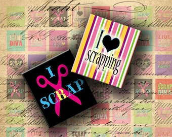 INSTANT DOWNLOAD Digital Collage Sheet I Love Scrapping 0.75 X 0.85 inch (Scrabble tile size) - DigitalPerfection digital collage sheet 632