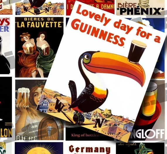 Vintage Beer Ads and Posters 2 X 2.5 inch - DigitalPerfection digital collage sheet 299