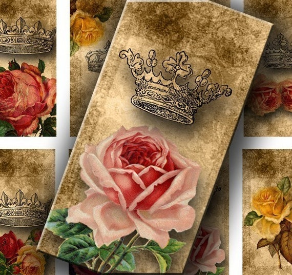 Roses and Crowns 1 X 2 inch for your Artwork - DigitalPerfection digital collage sheet 575