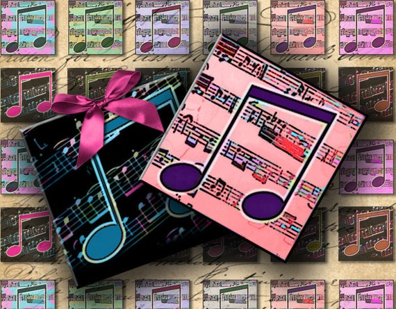 INSTANT DOWNLOAD Digital Collage Sheet - Let The Music Play 1 inch squares - DigitalPerfection digital collage sheet 294