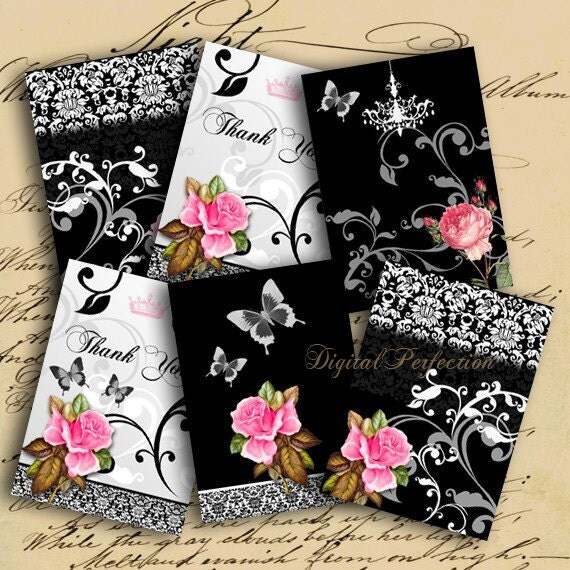 Instant Download Roses on Black and White Background ATC ACEO 2.5 X 3.5 inch - DigitalPerfection digital collage sheet 760