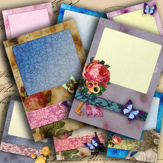 Instant Download Digital Collage Sheet Write Me a Note - ATC ACEO 2.5 X 3.5 inch - DigitalPerfection digital collage sheet 821