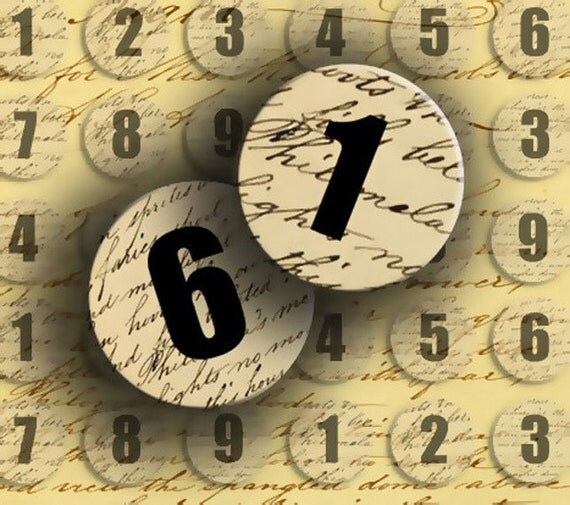 Numbers INSTANT DOWNLOAD Digital Collage Sheet Numbers 1 to 9 on Vintage Letter 1 inch Circles - DigitalPerfection digital collage sheet 824