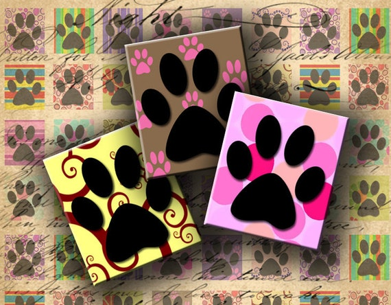 Instant Download Digital Collage Sheet Paw Images 0.75 X 0.85 inch (Scrabble Size) - DigitalPerfection digital collage sheet 476