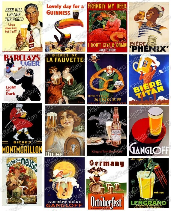 Instant Download Digital Collage Sheet Vintage Beer Ads and Posters 2 X 2.5 inch - DigitalPerfection digital collage sheet 299