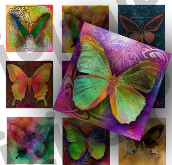 Colorful Butterflies 1 inch Squares - DigitalPerfection digital collage sheet 406