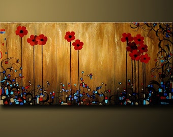 Red Floral Daisy Flower Painting Large Wall Art Poppy Art Flowers Original Painting Contemporary Red Poppies Large Art Painting by DROBART