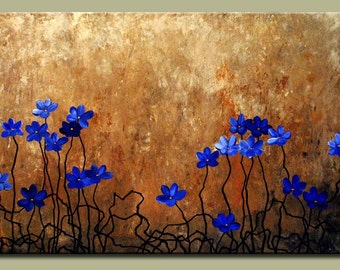 Blue Floral Wall Art Painting on Canvas Large Wall Art Poppy Art Flowers Original Painting Contemporary Blue Floral Painting Large Canvas