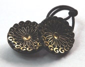 Ponytail Holder Hair Accessory - Vintage Glass Buttons, Black with Gold Highlights