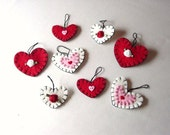 8 HAND SEWN PENNY RUG STYLE VALENTINE'S ORNAMENTS