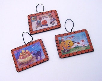 3 Mini Halloween Ornament with Vintage Postcard Images