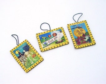 3 Mini Halloween Ornaments with Printed Vintage Postcard Images