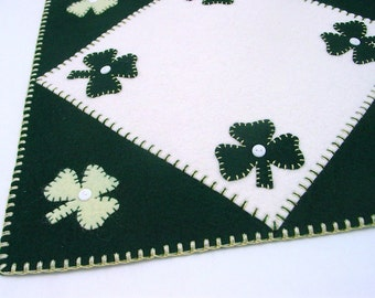 "Penny Rug Style St. Patrick's Day Candle, Table or Tree Mat - 12.5"" Square"