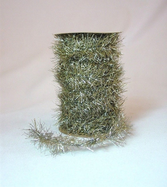 Antique style tinsel garland foot spool gold and by maryimp