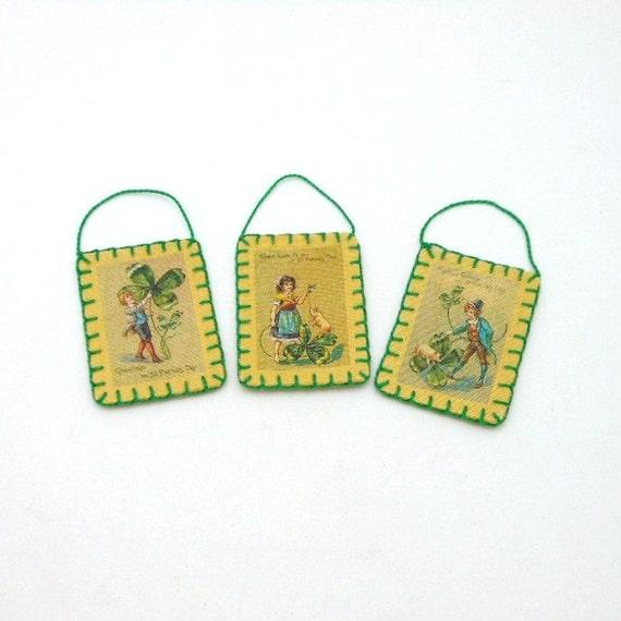 3 Mini St. Patrick's Day Vintage Postcard Image Ornaments