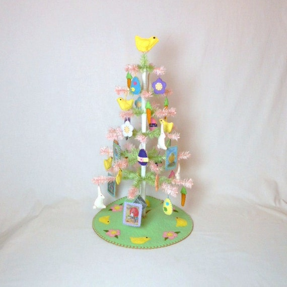 Easter Feather Tree with Ornaments , TreeSkirt and Tree Topper