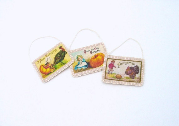 Mini Thanksgiving Vintage Postcard Image Ornaments - Set of 3