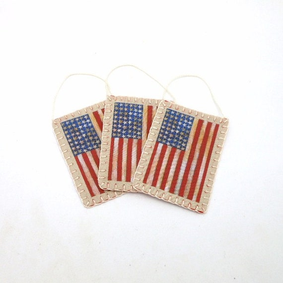 Penny Rug Style American Flag Image Ornaments Set Of 3